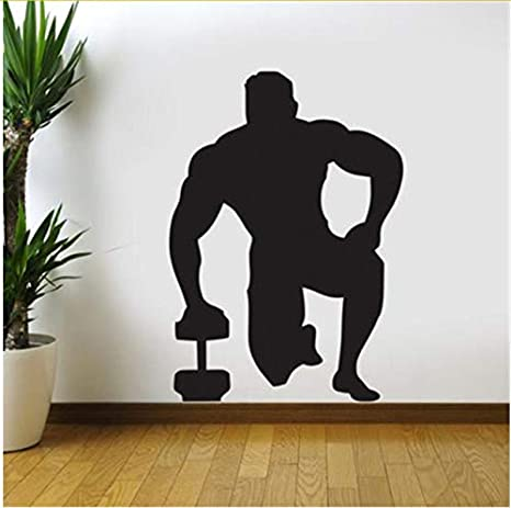 Yangll Gym Etiqueta De La Pared con Mancuernas Fitness Decal Posters Vinilo Tatuajes De Pared Decoración Mural Gym Sticker 58X82cm: Amazon.es: Hogar