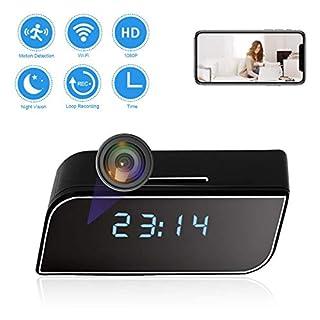 CAMAKT WiFi Alarm Clock Camera HD 1080P Mini Wireless Camera Video Recorder Camera Small Nanny Cam with Night Vision and Motion Detection Home/Office Security Surveillance Camera