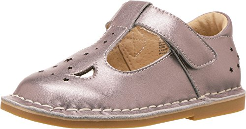 Livie & Luca Girls' Mae Mary Jane Flat, Pewter Metallic, 13 Medium US Little Kid