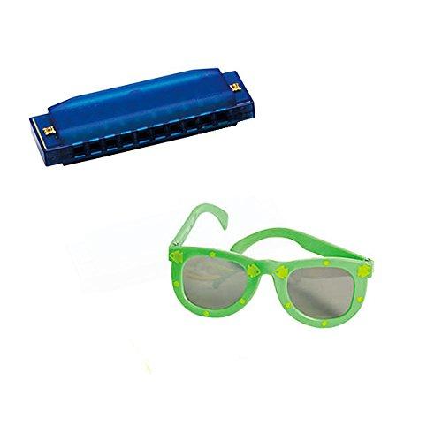 VBS Island Theme -Music pack W/Blue Harmonica & Kids' Fish Print Green Sunglasses
