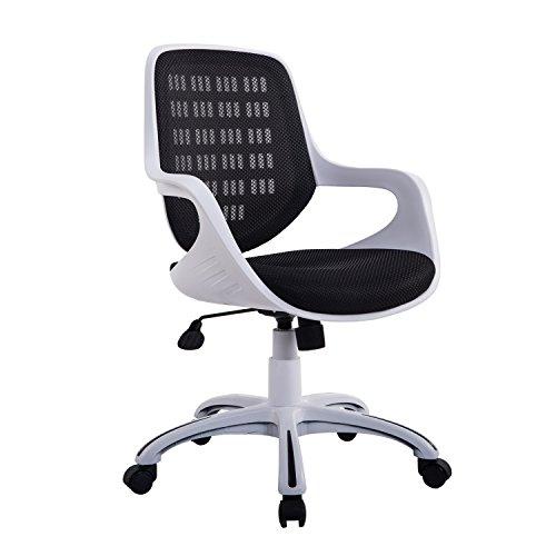 HomCom 921-048 Adjustable Mid-Back Mesh 360-Degree Swivel Computer Chair Home Office Furniture, Black/White