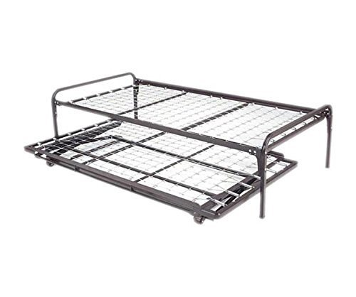 Dream Solutions Metal Day Bed Daybed Frame and Pop up Trundle with Great Soft Mattresses Included Package Deal, Twin