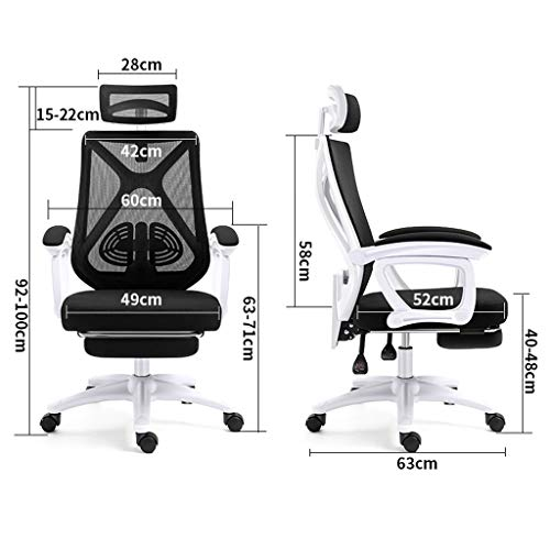 Svängbar stol hem kontor datorstol ergonomisk bekväm hög rygg rygg rygg elastisk nätstol arbetsrum med ländrygg stöd helt justerbar snygg andningsbar, svart, 49 x 52 x 100 cm