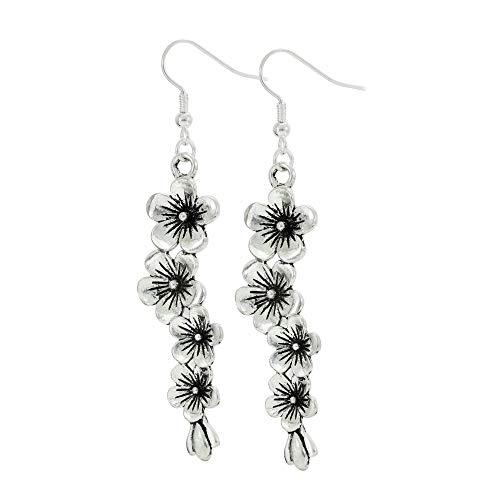Cherry Blossom Flower Silvertone Earrings Plumeria Fishhook Dangle Earring Set for Women