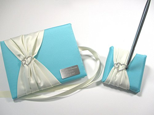 Personalized Wedding Guest Book and Pen Set in Robin's Egg Blue and Ivory with Linked Hearts