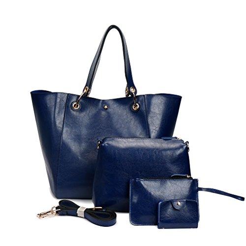 Aosbos 4 Pcs Tote Bag Women Handbag PU Leather Shopping Bag College Hobo Bags (Red) Blue