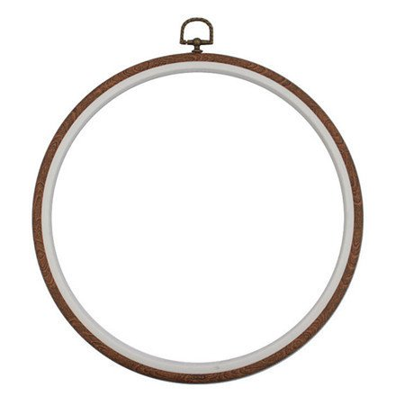 Polished Flat Round Hoop (BarFeer 8 Size Wood Plastic Frame Embroidery Hoop Ring Circle Round Loop For Cross Stitch Hand DIY Needlecraft Household Sewing Tool 6.8 inch Round)
