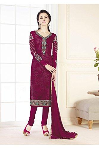 Da Facioun Femmes Indiennes Concepteur Anarkali Traditionelles Ethnique Partywear Salwar Kameez Rose Foncé 44