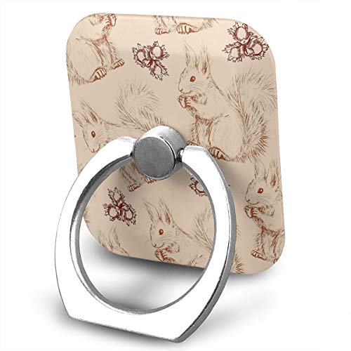 Square Finger Ring Stand 360Rotation Phone Holder Grip Squirrel Nuts Animal Kickstand for Smartphones and Ipad