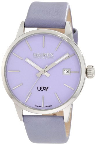 Haurex Italy Women's 6A363DL1 Leaf Lilac Dial Luminous Hands Date Watch by Haurex