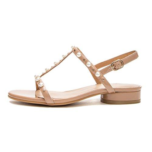 Sunny Plage Apricot À Perle 2018 Colour Chaussures des Plat Été Style Femmes Strass Nouveau Sandales aUn0ag