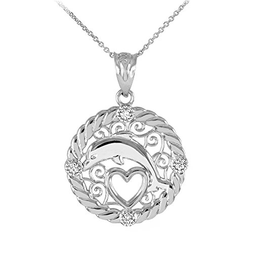 10k White Gold Diamond Roped Filigree Charm Dolphin Open Heart Pendant Necklace, (Diamond Dolphin Charm)
