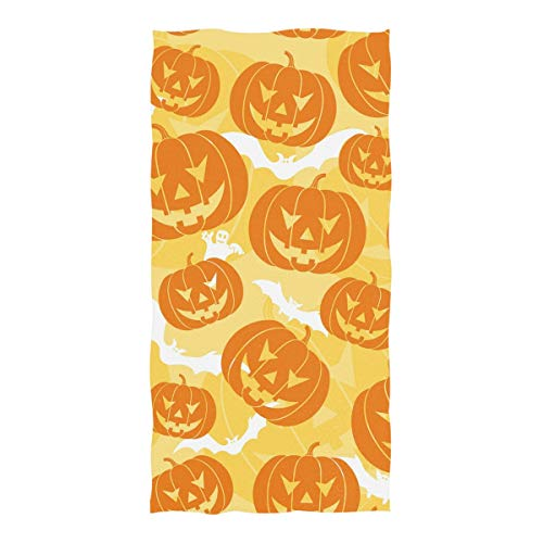Double Joy Art Pumpkin Halloween Seamless Pattern Soft Cute Travel Camping Swim Sports Bath Yoga Large Beach Towels 74x37 Inch