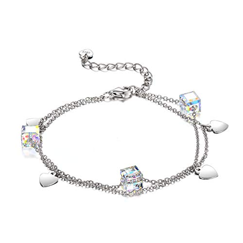 AOBOCO 925 Sterling Silver Bracelet Love Heart Charms Adjustable Link Crystals from Swarovski,Jewelry Gift for Women Girls