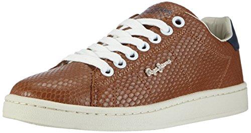 Pepe Jeans CLUB SNAKE - zapatilla deportiva de piel mujer marrón - Braun (877NUT BROWN)