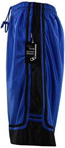 - ChoiceApparel Mens Two Tone Training/Basketball Shorts with Pockets (S up to 4XL) (3XL, Zippered-Royal/Black)