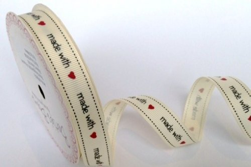Bertie's Bows Grograin Ribbon 'Made with Love' 3m roll 16mm Bertie's Bows Ribbon