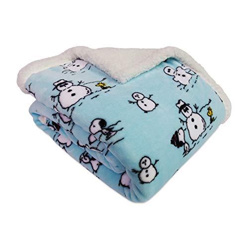 - Berkshire Blanket, Peanuts Snow Day VelvetLoft Plush Throw Blanket with Fuzzy Sherpa, 50