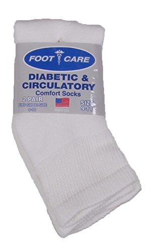 2 Pack Ankle Socks - Foot Care Men's Diabetic Ankle Socks 2-Pack White One Size
