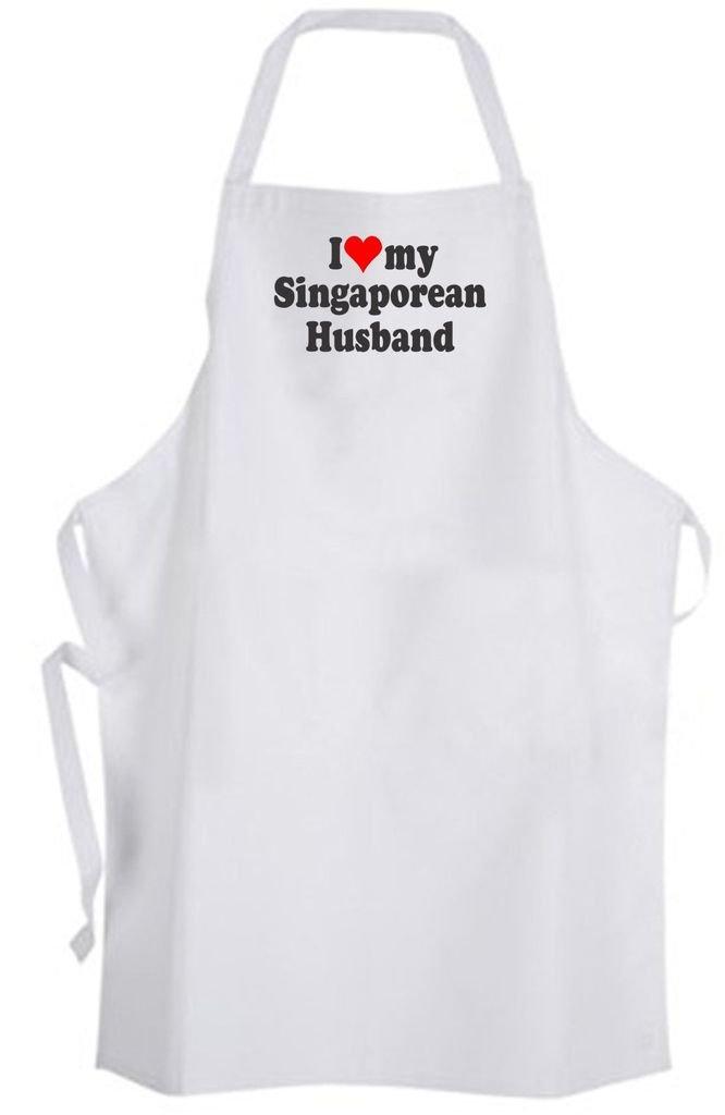 I Love my Singaporean Husband – Adult Size Apron – Wedding Marriage Wife