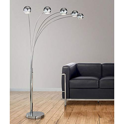 (Orbs 5 Lights Arc Floor Lamp, Dimmer Switch, Bulbs Included (Polished Chrome))