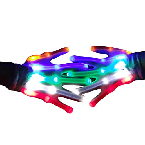 Flashing LED Gloves, Light Up Finger Gloves with Extra 4 Batteries Flashing Light Toys for Party Favor Birthday Toys for Kids Teen -