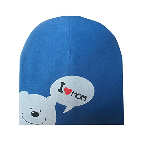 (Donna Pierce I LOVE MOM/DAD Cartoon Bear Knitted Cotton Beanie Cap Cute Baby Hat Warm Autumn Hats Caps for 0.5-3years old children mom blue)