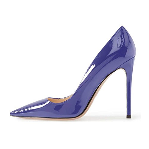4 Pumps Stiletto Toe US Classic FSJ Heels Formal Pointed for Shoes Size Women Blue 15 High wIHx7q