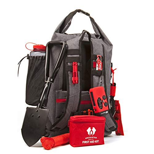 - Uncharted Supply Emergency Survival Backpack - SEVENTY2 | 50L, 35 Piece Emergency Kit with Preparedness Gear, Food, Matches, Radio, Tools | Bug Out Bag for Camping, Hiking, Earthquakes, Hurricanes