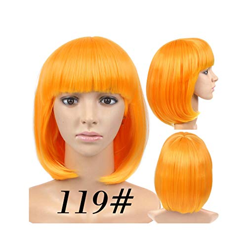 Lotus leaf fragrance Short Straight Wigs Women'S Bob Style Full Head Wig Heat Resistant Synthetic Real Thick Black Brown Blonde Hair,119,14inches -