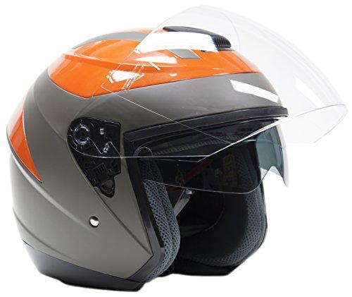Typhoon 3/4 Helmet With Face Shield & Tinted Sunshield DOT Motorcycle Scooter Moped Cruiser Helmet - Orange - XXL