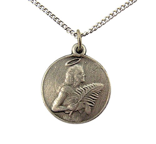 Pewter Patron Saint Agatha Round Medal Pendant, 3/4 Inch