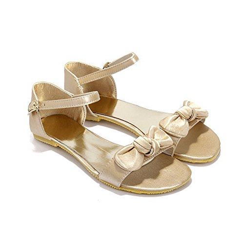 Toe Open Wildleder VogueZone009 Flats mit Material Womens Bowknot Gold Soft Solid Sandalen qCwqUnSE