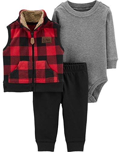 Carters Moose - Carter's Baby Boys 3 Piece Vest Set, Buffalo Check, 9 Months