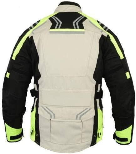 Bikers Gear Australia Hi Viz Safety GloRider Motorcycle Waterproof Trousers with CE1621-1 Removable Armour UK30L-EU40L