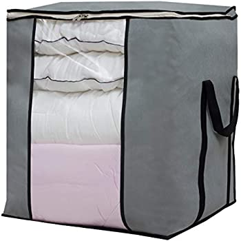 SLEEPING LAMB Large Foldable Storage Bag Organizer Clothes Storage Container for Blanket Comforter Clothing Bedding with Durable Handles, Grey