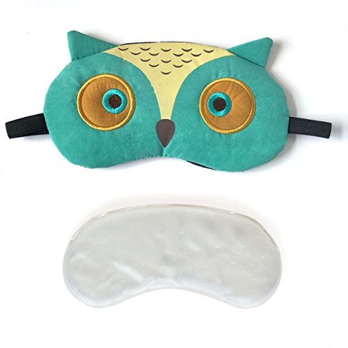 3D Cute Owl Eye Mask with Reusable Gel Pad, Cold Hot SPA Therapy for Dry Eye and Puffy Eyes, Relaxing Your Eye (Green)