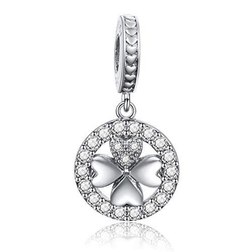 (Four Leaf Clover Charm Dangle Bead 925 Sterling Silver Heart Shaped Charm for Bracelet Necklace Women Girl Pendant Lucky)