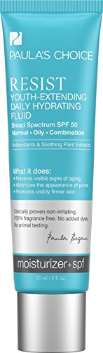 Paula's Choice RESIST Youth-Extending Daily Hydrating Fluid SPF 50 Anti-Aging Moisturizer, Broad Spectrum Sun Protection for Oily Skin - 2 oz (1 Bottle) by Paula's Choice
