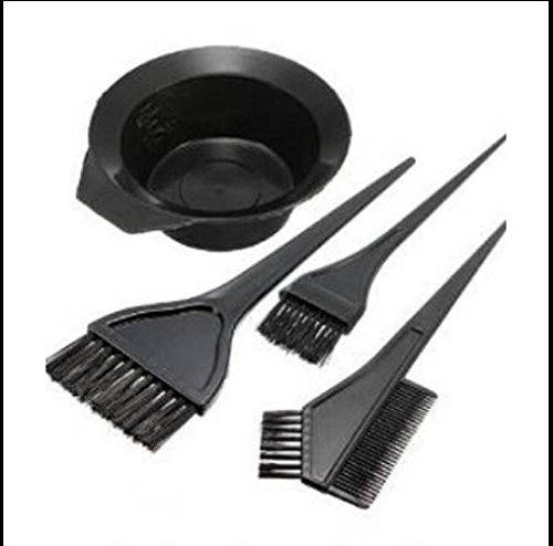 MTSZZF Hair Color Dye Bowl Comb Brushes Kit Tint Coloring Bleach Hairdressing 4 Pcs