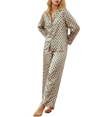 button up pajama set for women ladies fancy pajamas womens comfortable pajamas ladies pajamas G Green Grid M