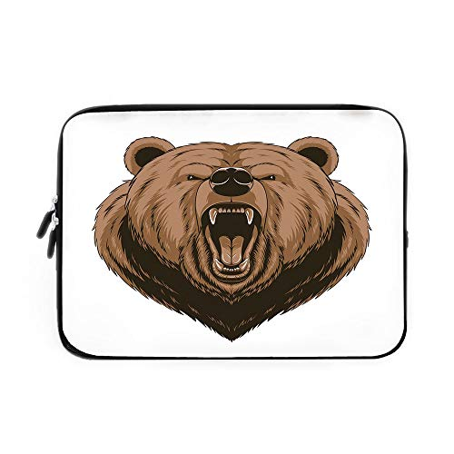 Bear Laptop Sleeve Bag,Neoprene Sleeve Case/Angry Scary Face Mascot Head Powerful Vicious Beast Cartoon Mascot with Fangs/for Apple MacBook Air Samsung Google Acer HP DELL Lenovo -