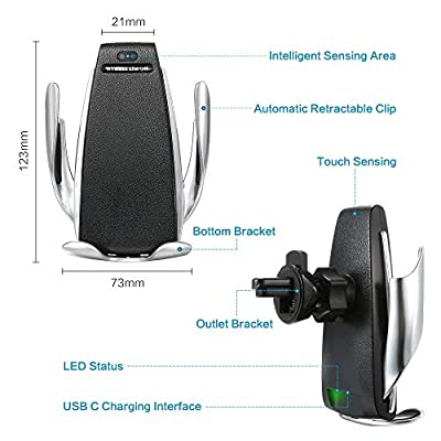 TIMESS Infrared Penguin S5 Wireless Charger,Smart Automatic Clamping Fast Wireless Car Charger Infrared Auto-sens Air Vent Mount for iPhone Xs/XR/X/8/8 Plus, Samsung S9+, S7/S7 Edge, Note9/8: Home Audio & Theater