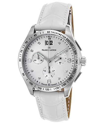 Maurice Lacroix Mi1057-Ss001-150-Wht Women's Miros Diamond Chrono White Genuine Leather Silver-Tone Dial Watch