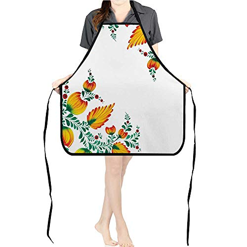 Jiahong Pan Cooking Kitchen Bib Aprons Motivati al Quote Ornate Japan Flower Motif Orange Green with Pockets ApronsK17.7xG26.6xB9 - Japan Puritan