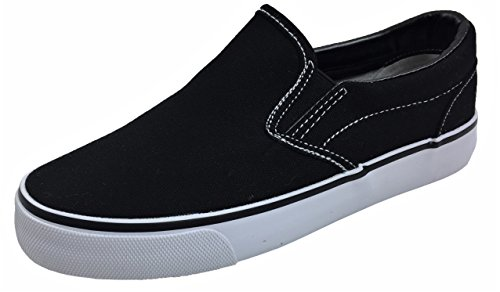 Kid's Classic Slip On Canvas Sneaker Tennis Shoes, 2926 Black White 3 US Little ()