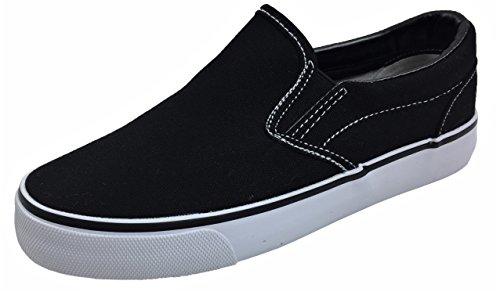 Kid's Classic Slip On Canvas Sneaker Tennis Shoes, 2926 Black White 12 US Little - Boys On Slip