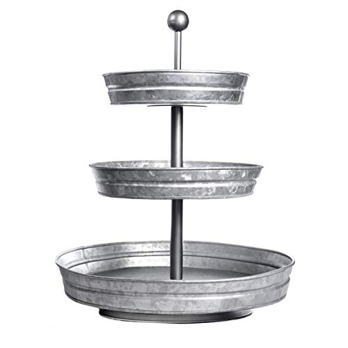 DELBRIO - 3 Tier Serving Tray (Jumbo 17'' Base) Rustic, Decorative Galvanized Metal | Home Farmhouse Decor & Display Stand | Coffee, Fruit & Veggie, Party Bar Serving Tray, Cupcake Stand | FOOD SAFE by DELBRIO (Image #9)