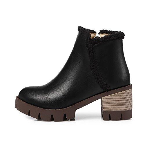 Allhqfashion Mujeres Soft Material Round Cerrado Dedo Del Pie Sólido Low Top Kitten-heels Botas Negro