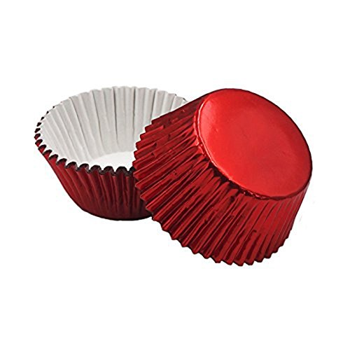 SODIAL Foil Baking Cups Cupcake Liners, Standard Sized, 200 Count (Red)7.5*4.8*3cm Aluminum foil + paper